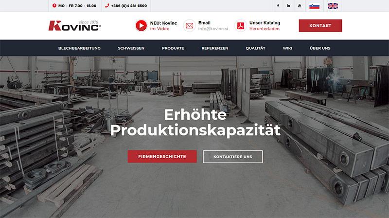 Nemška spletna stran Kovinc d.o.o.